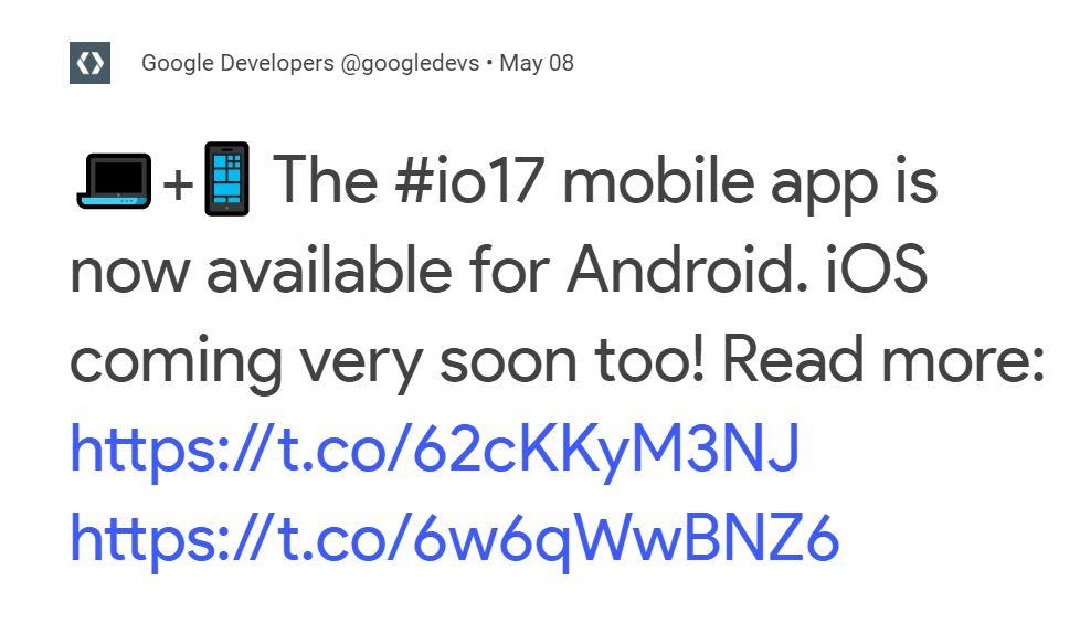 Google I-O 2017 App
