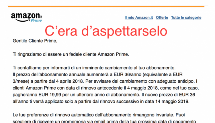 Amazon Prime Aumenta